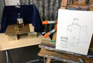 still life setup of Ballantines Scotch Whiskey