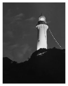 shioyasaki lighthouse black and white