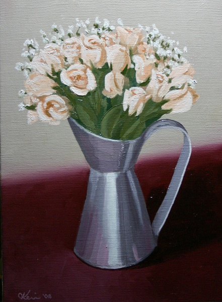 Roses in a Tin Vase