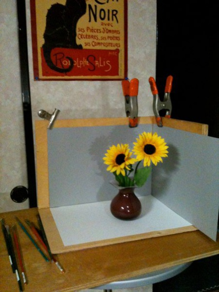 "Setup for ""Sunflowers in Purple Vase"""