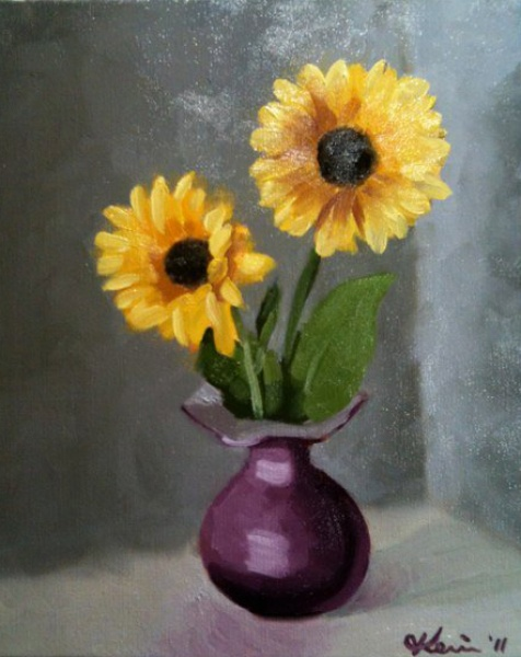 """Sunflowers in Purple Vase"""